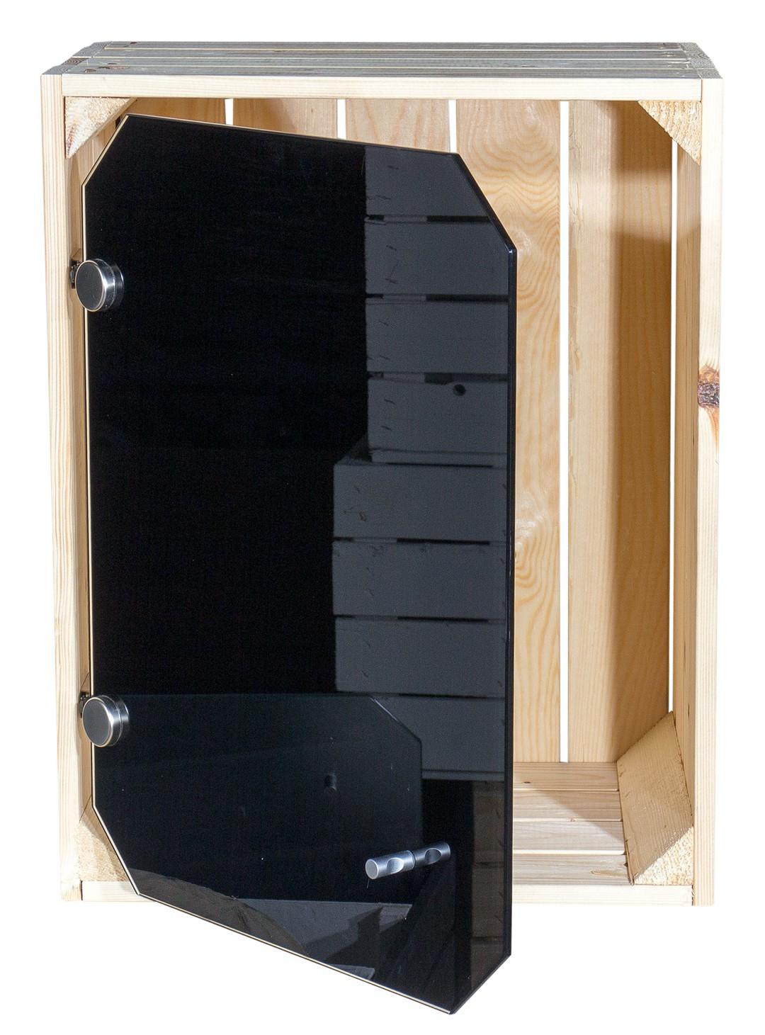 apfelkisten neue apfelkiste altes land mit glast r schwarz 50x40x30cm obstkisten online. Black Bedroom Furniture Sets. Home Design Ideas