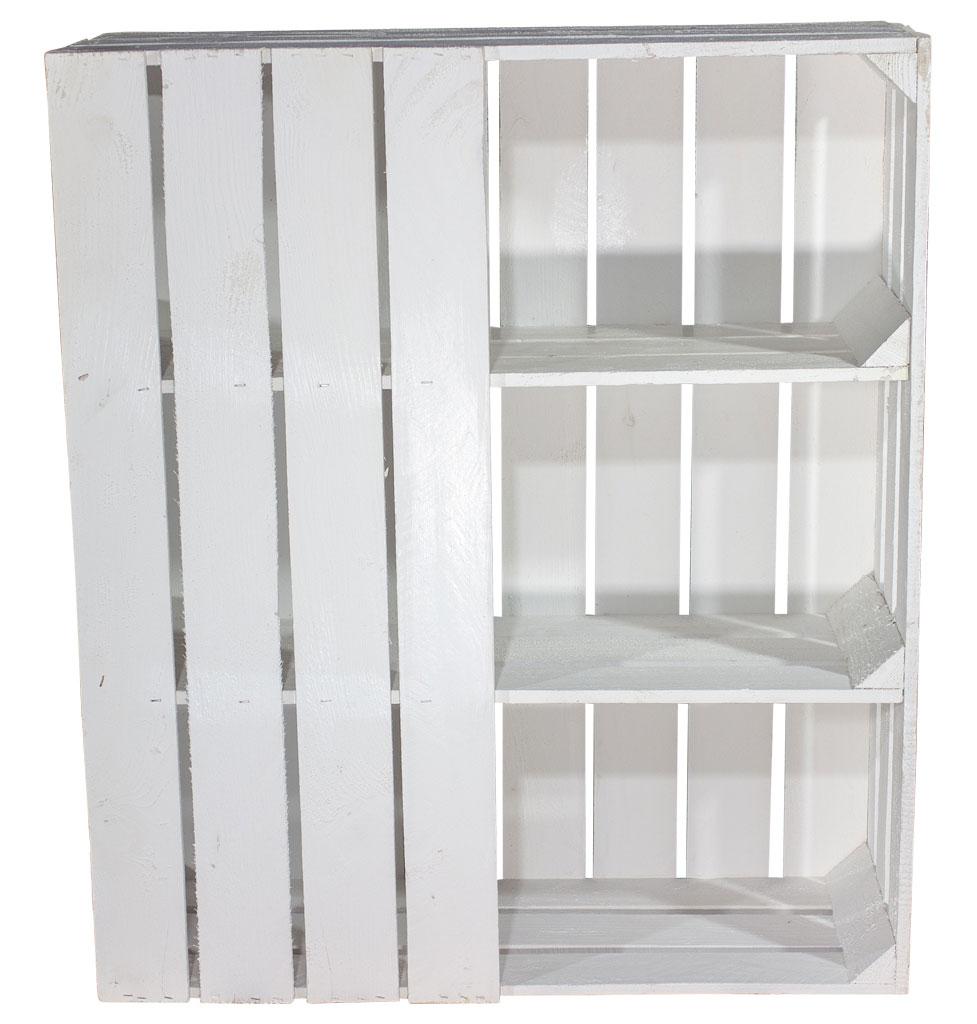 Schreibtisch Unterbau aus weißen Holzkisten (rechts) 74x65x35cm