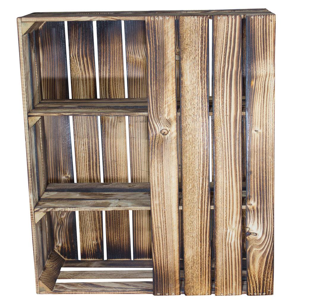Schreibtisch Unterbau aus geflammten Holzkisten (links) 74x65x35cm