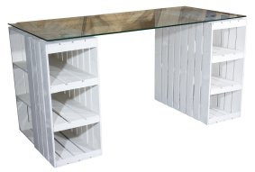 shabby chic schreibtisch mit glasplatte 150x70x75cm ebay. Black Bedroom Furniture Sets. Home Design Ideas