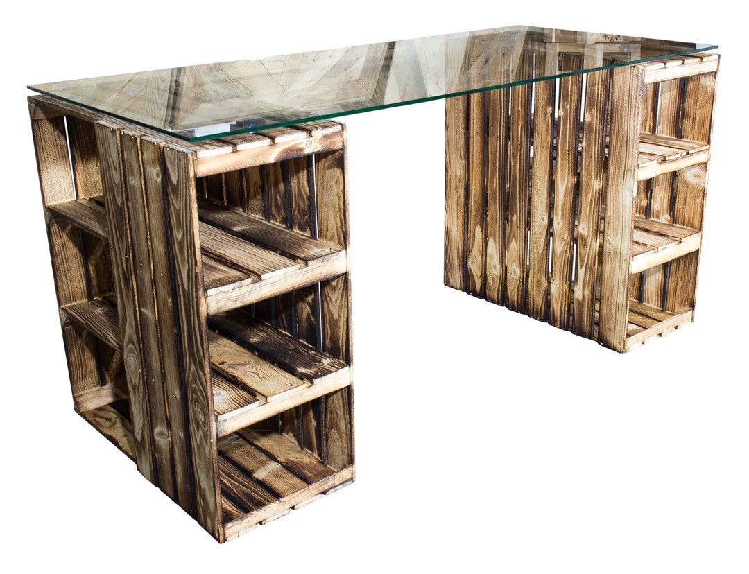 n tzliches schreibtisch mit geflammten holzkisten glasplatte 150x70x75cm obstkisten online. Black Bedroom Furniture Sets. Home Design Ideas