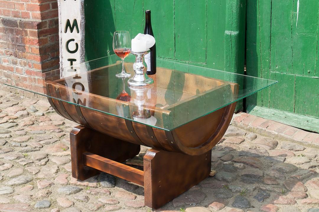 Halbiertes Fass Als Couchtisch Mit Glasplatte 794x58x525cm