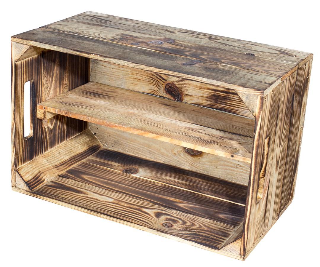 geflammt geflammte birnenkiste mit mittelbrett 49x30x28cm obstkisten. Black Bedroom Furniture Sets. Home Design Ideas