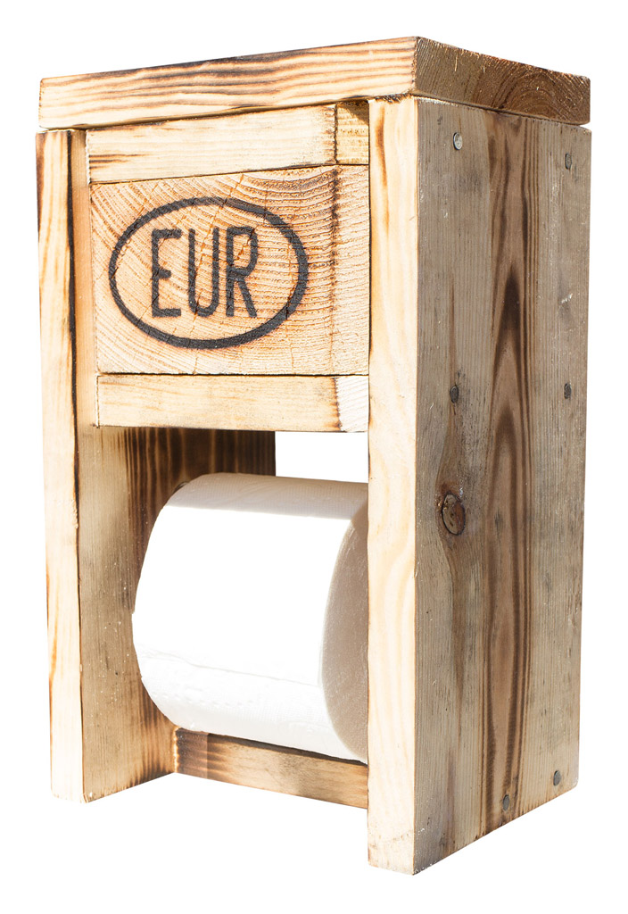 upcycling wc toilettenpapierhalter aus paletten 31x19x14cm ebay. Black Bedroom Furniture Sets. Home Design Ideas