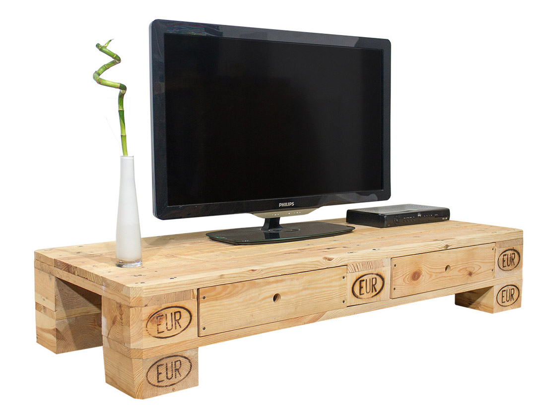 palettenregal tv lowboard aus palettenholz 120x50x22cm obstkisten. Black Bedroom Furniture Sets. Home Design Ideas