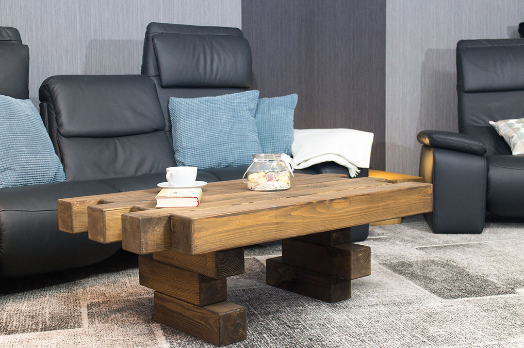 Vinterior Design Couchtisch aus massivem Eichenholz 110x60x40cm