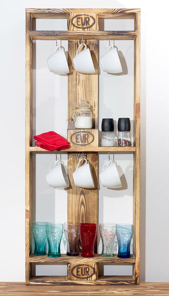 Vintage Küchenregal aus Palettenholz 120x50x15cm