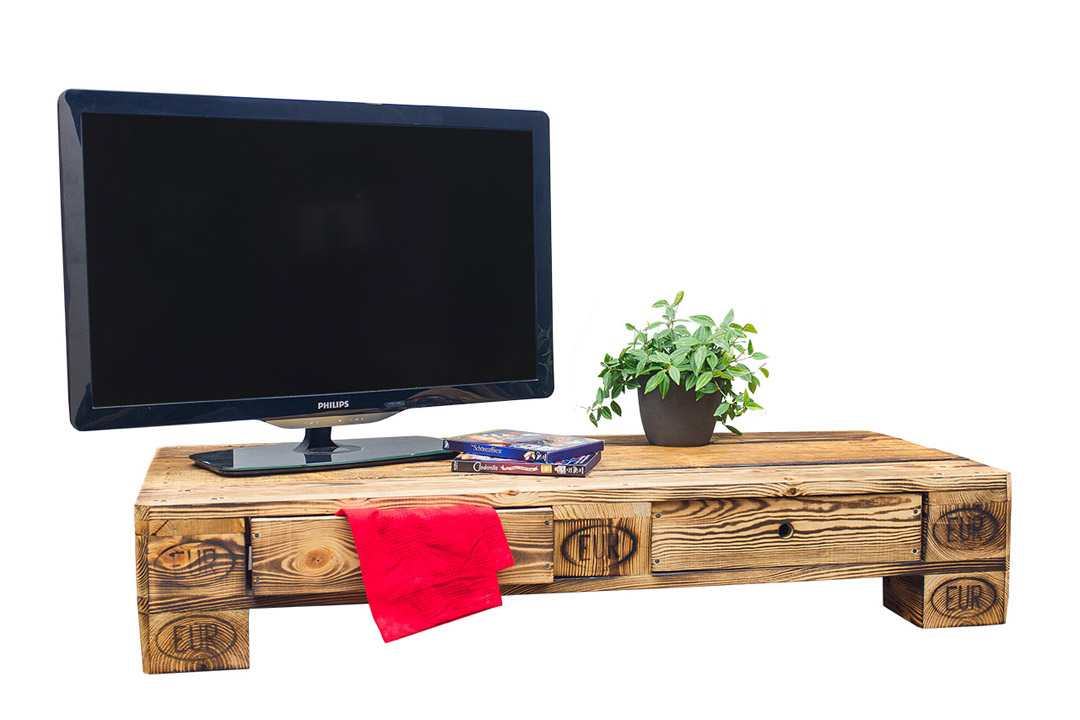 palettenm bel vintage lowboard tv kommode aus geflammten palettenholz 120x50x22cm obstkisten. Black Bedroom Furniture Sets. Home Design Ideas