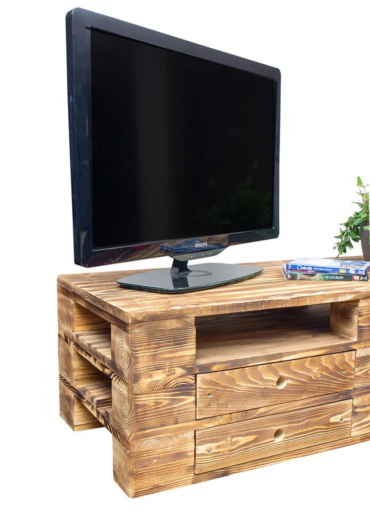 wohnzimmer vintage lowboard tv kommode aus geflammten palettenholz obstkisten. Black Bedroom Furniture Sets. Home Design Ideas