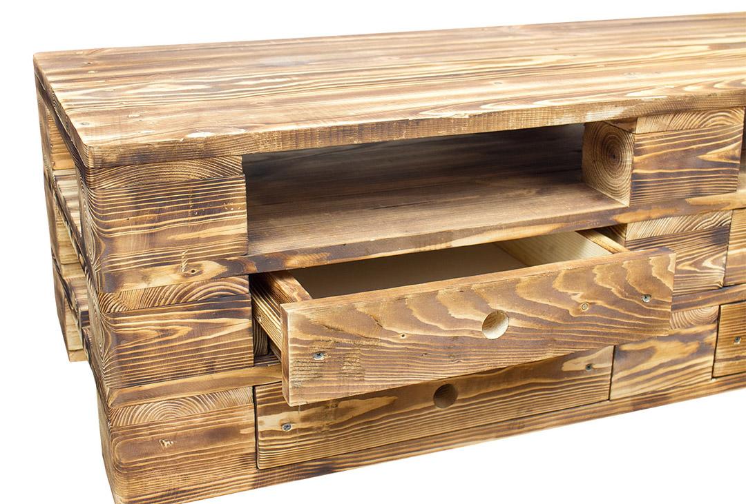 restposten m bel vintage lowboard tv kommode aus geflammten palettenholz 120x47x36cm. Black Bedroom Furniture Sets. Home Design Ideas