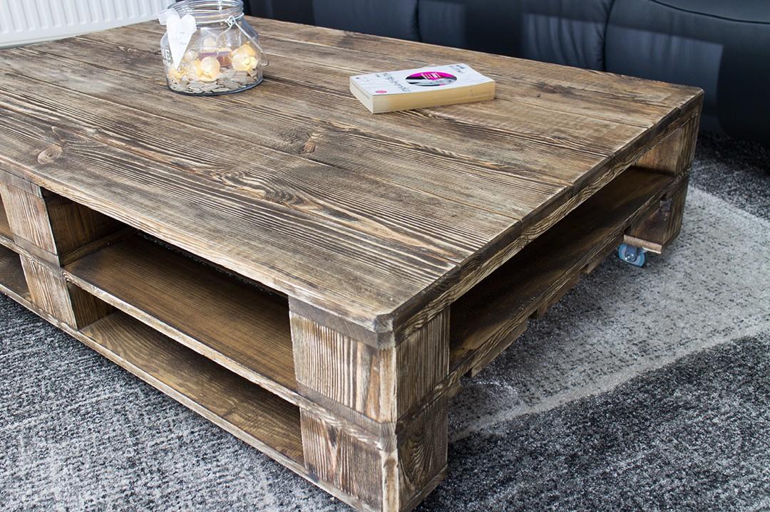 palettentisch couchtisch aus palettenholz im used look auf rollen 120x80cm obstkisten online. Black Bedroom Furniture Sets. Home Design Ideas