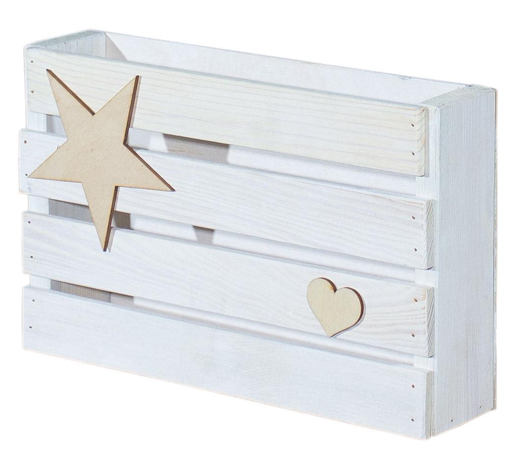 upcycling kleine wei e halbe holzkiste mit deko 31x20x7cm obstkisten. Black Bedroom Furniture Sets. Home Design Ideas