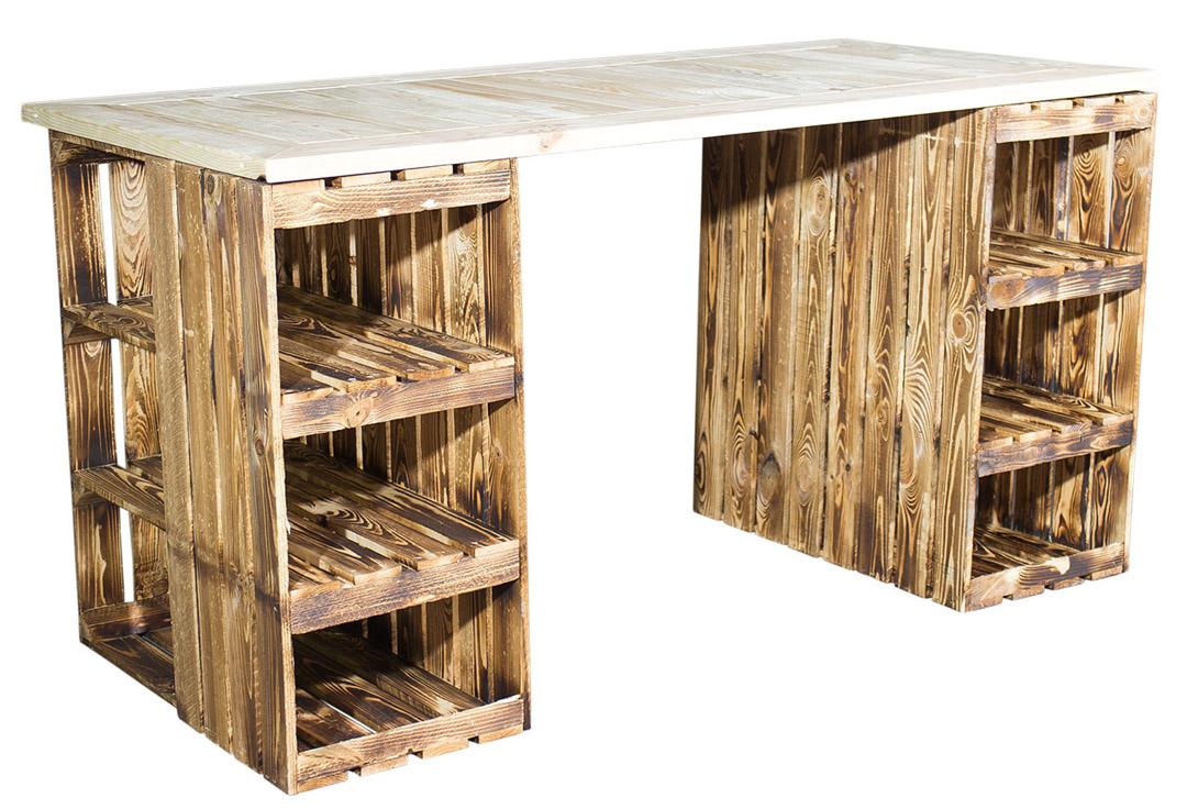 Schreibtisch mit geflammten Holzkisten & heller Holzplatte 150x70x75cm