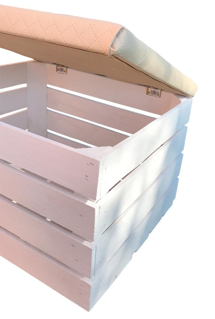apfelkisten wei e apfelkiste mit deckel und beigem bezug 50x40x30cm obstkisten. Black Bedroom Furniture Sets. Home Design Ideas