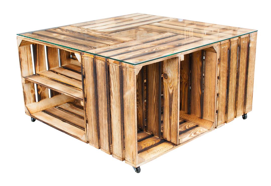 Weinkisten Möbel Tisch Möbel : Tisch Aus Versch. Geflammten Schuhkisten U0026  Glasplatte .