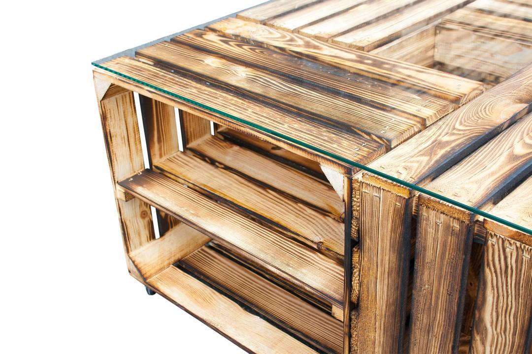 couchtisch tisch aus versch geflammten schuhkisten. Black Bedroom Furniture Sets. Home Design Ideas