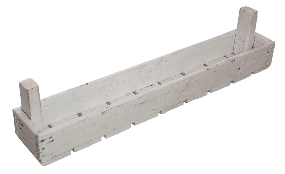 Geviertelte stabile weiße Holzsteige 76x12,5x8,5cm