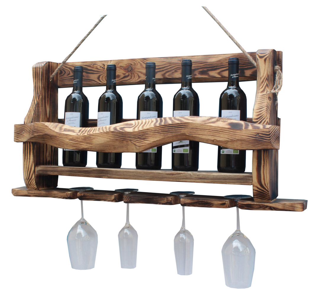 Massives Wand WEINREGAL ALTHOLZ 42x90x14cm