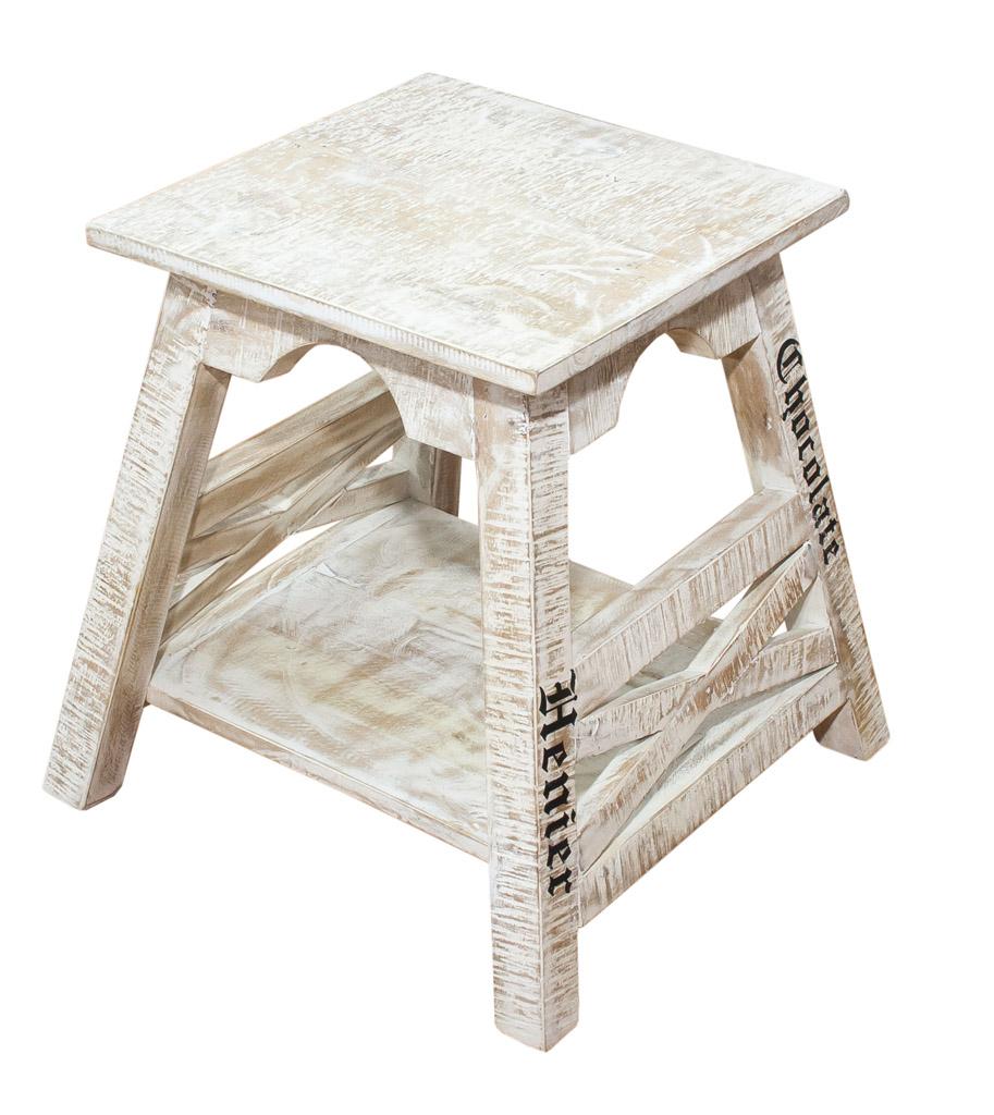 st hle hocker kleiner shabby chic hocker mangoholz 45x44x45cm obstkisten. Black Bedroom Furniture Sets. Home Design Ideas