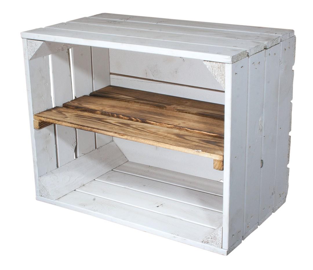 Weiße Holzkiste mit geflammtem Mittelbrett -längst- 50x40x30cm