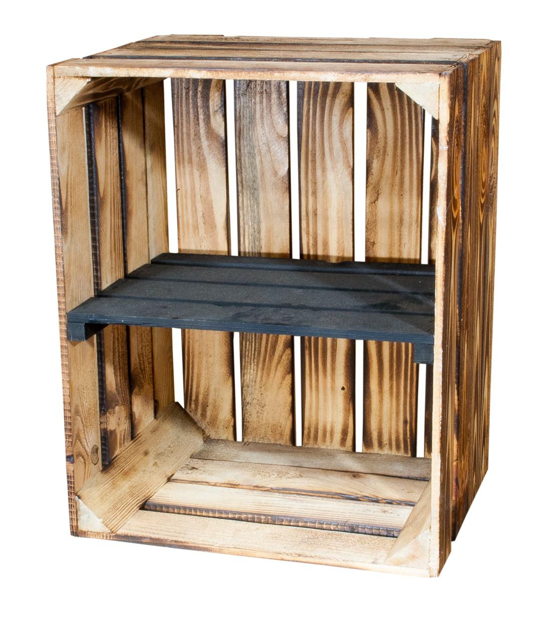 Geflammte Holzkiste mit schwarzem Mittelbrett -quer- 50x40x30cm