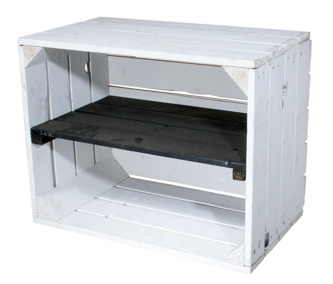 Weiße Holzkiste mit schwarzem Mittelbrett -längst- 50x40x30cm