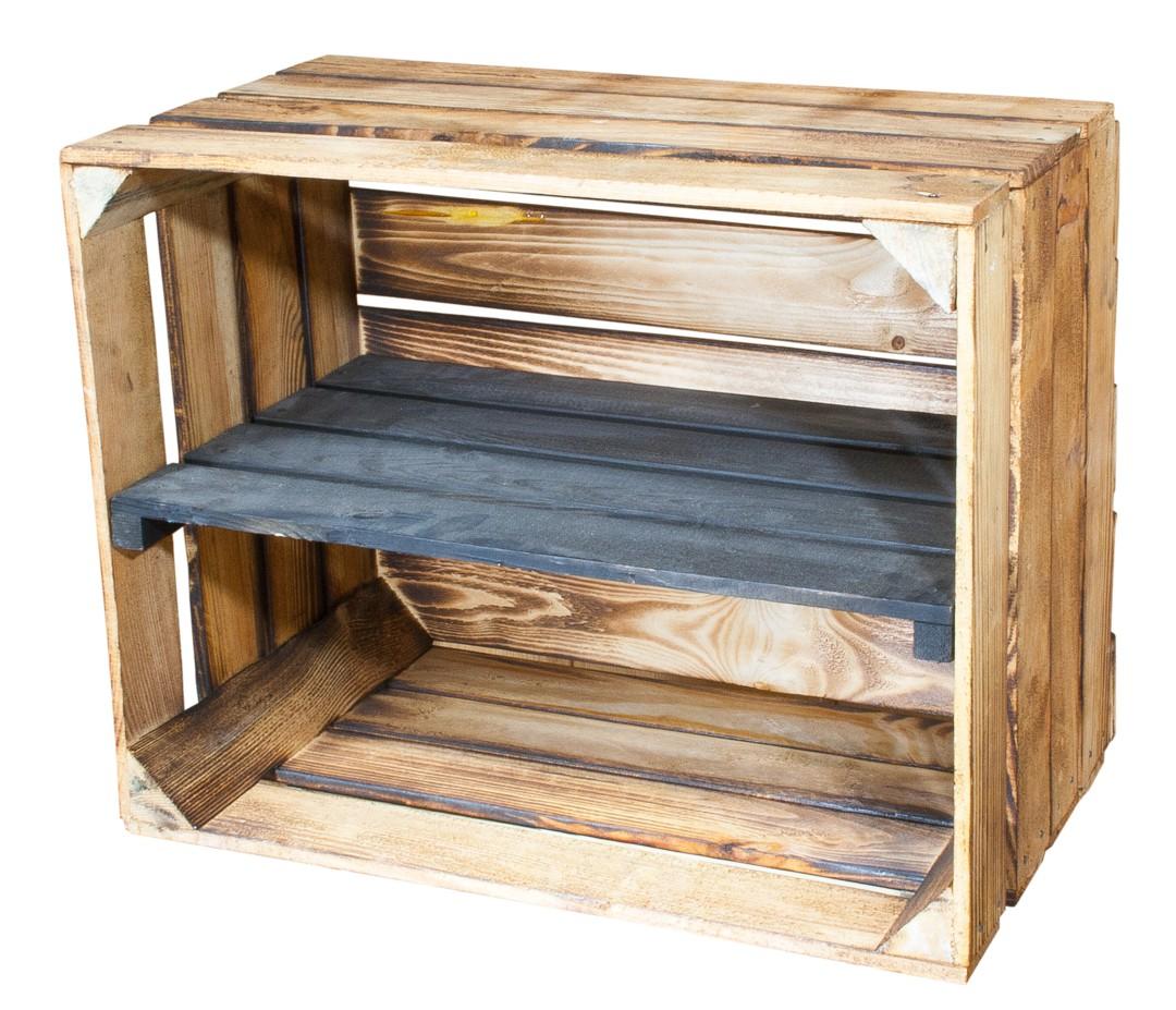 Geflammte Holzkiste mit schwarzem Mittelbrett -längs- 50x40x30cm