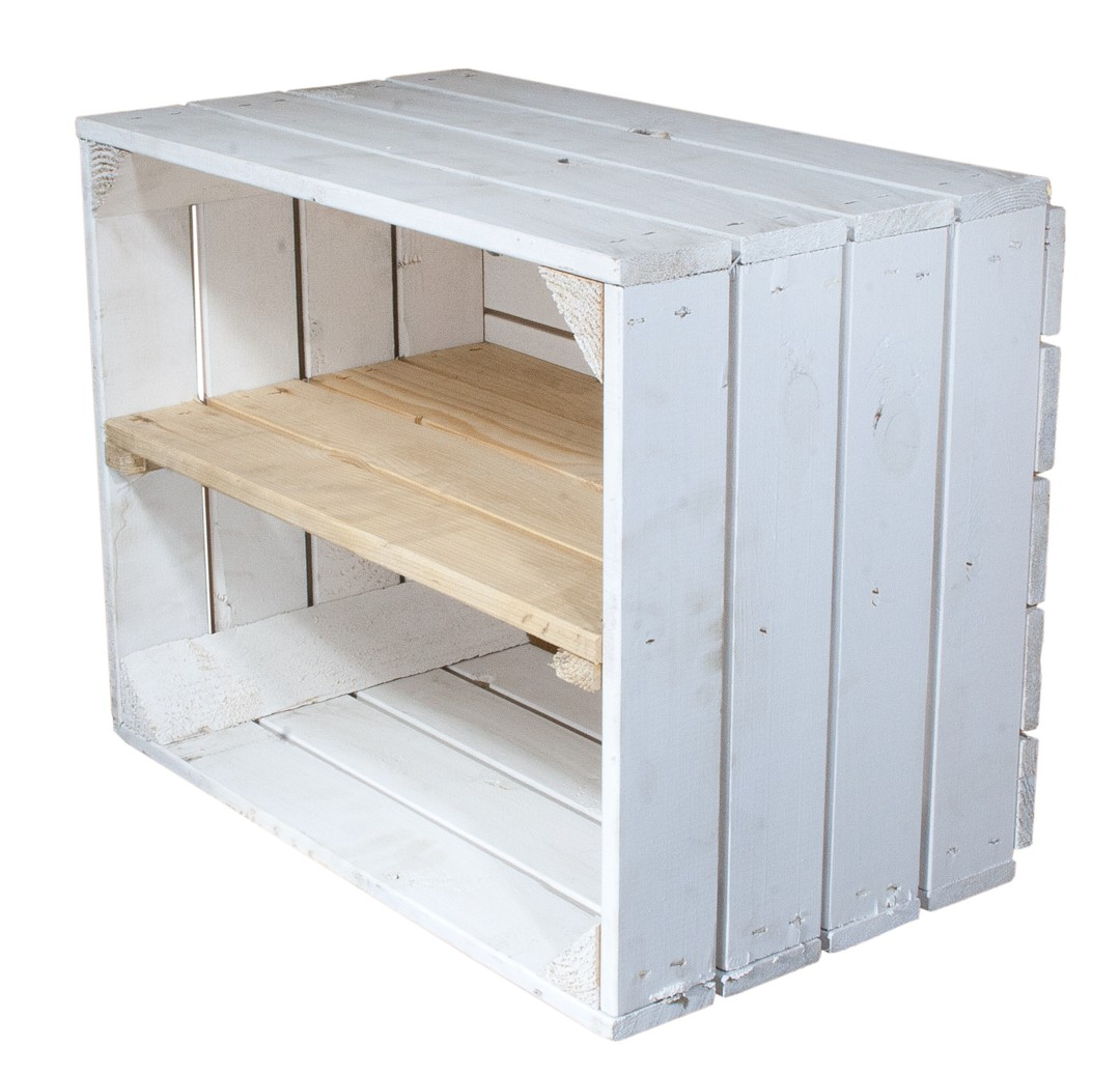 bestseller kisten wei e holzkiste mit mittelbrett in natur l ngst 50x40x30cm obstkisten. Black Bedroom Furniture Sets. Home Design Ideas