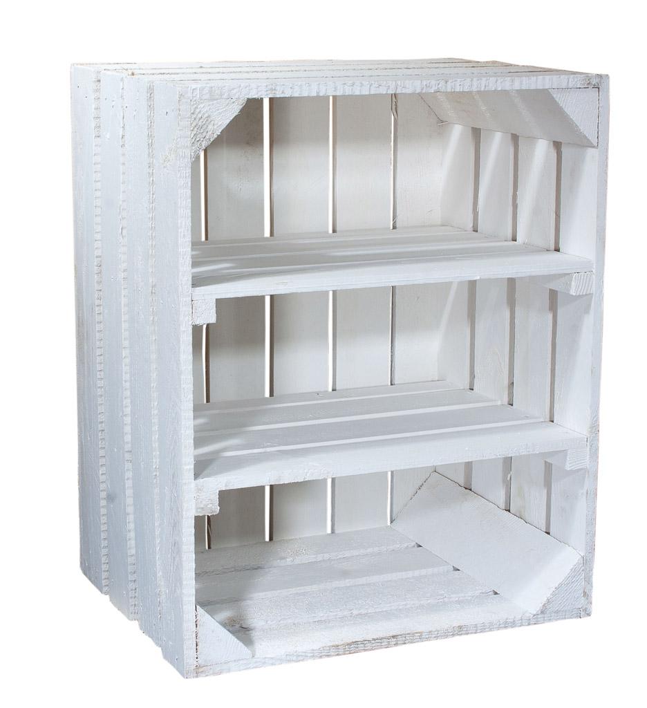 Weiße Holzkiste mit 2 Mittelbrettern -quer- 50x40x30cm