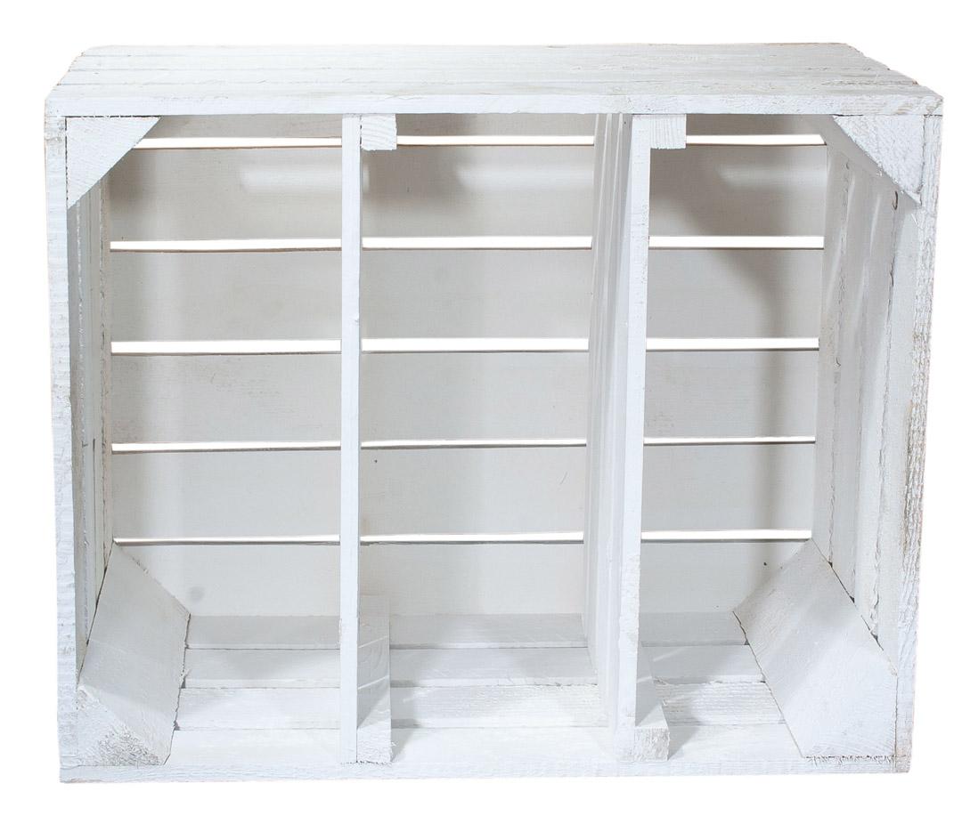 regalkisten wei e holzkiste mit 2 mittelbrettern quer 50x40x30cm obstkisten. Black Bedroom Furniture Sets. Home Design Ideas