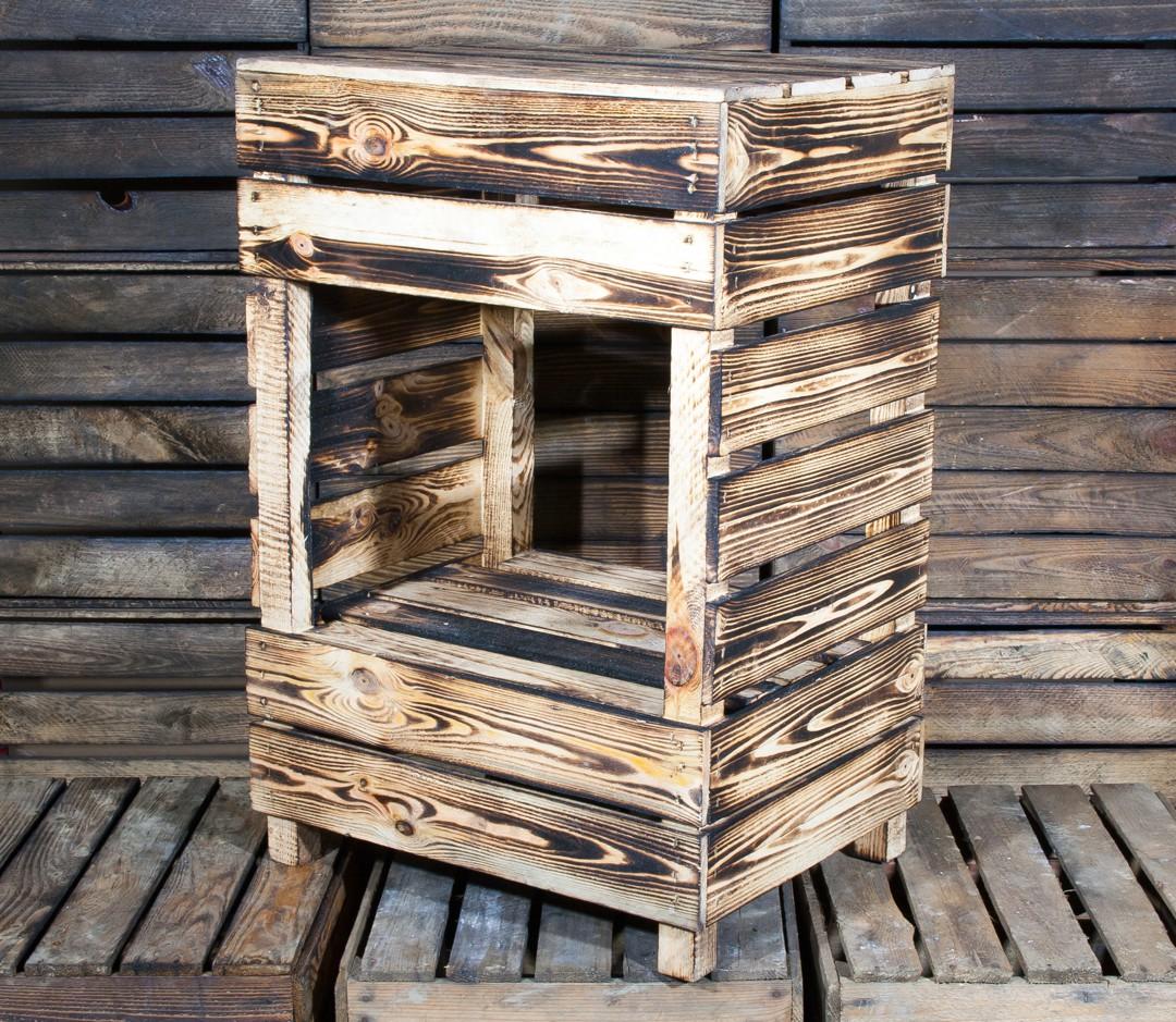 regalkisten beistelltisch aus geflammtem holz 75x50x40cm. Black Bedroom Furniture Sets. Home Design Ideas