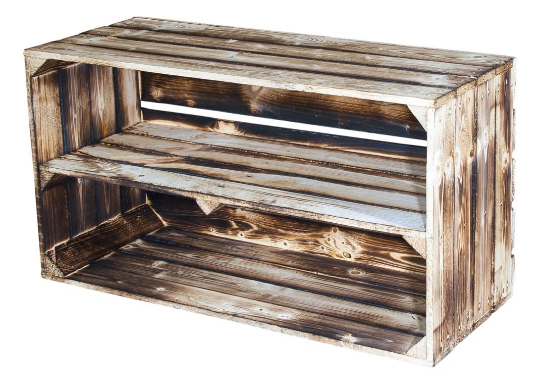 Große geflammte Holzkiste mit Mittelbrett 74,5x40,5x31cm