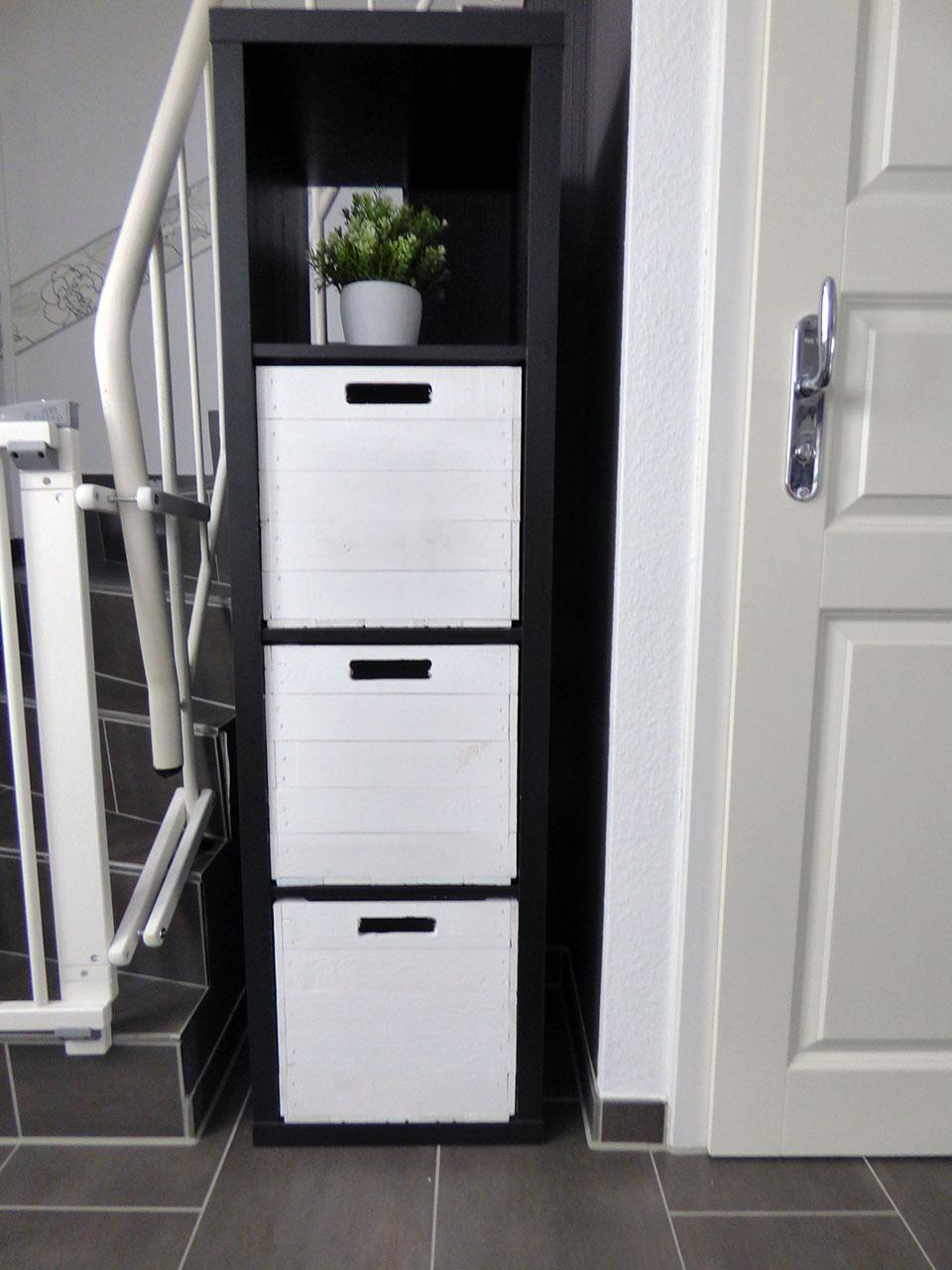 farbige produkte holzkiste shabby wei f r kallax regale 33x38x33cm obstkisten. Black Bedroom Furniture Sets. Home Design Ideas