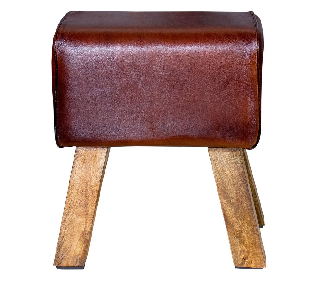 alle m bel vintage leder sitzhocker 38x23x42cm. Black Bedroom Furniture Sets. Home Design Ideas
