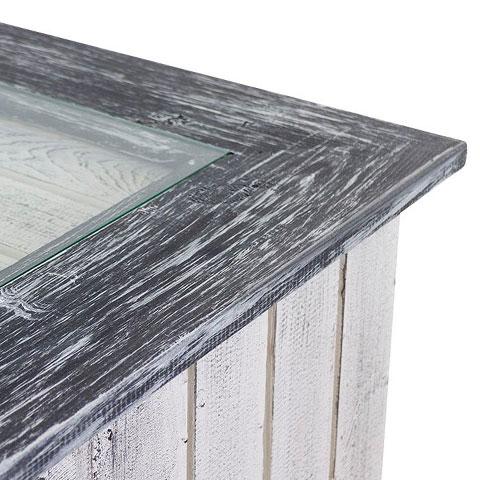 Weißer Tisch mit Glasplatte und Shabby Rahmen / besonders durch 4 Holzkisten für extra Stauraum / 85x85cm