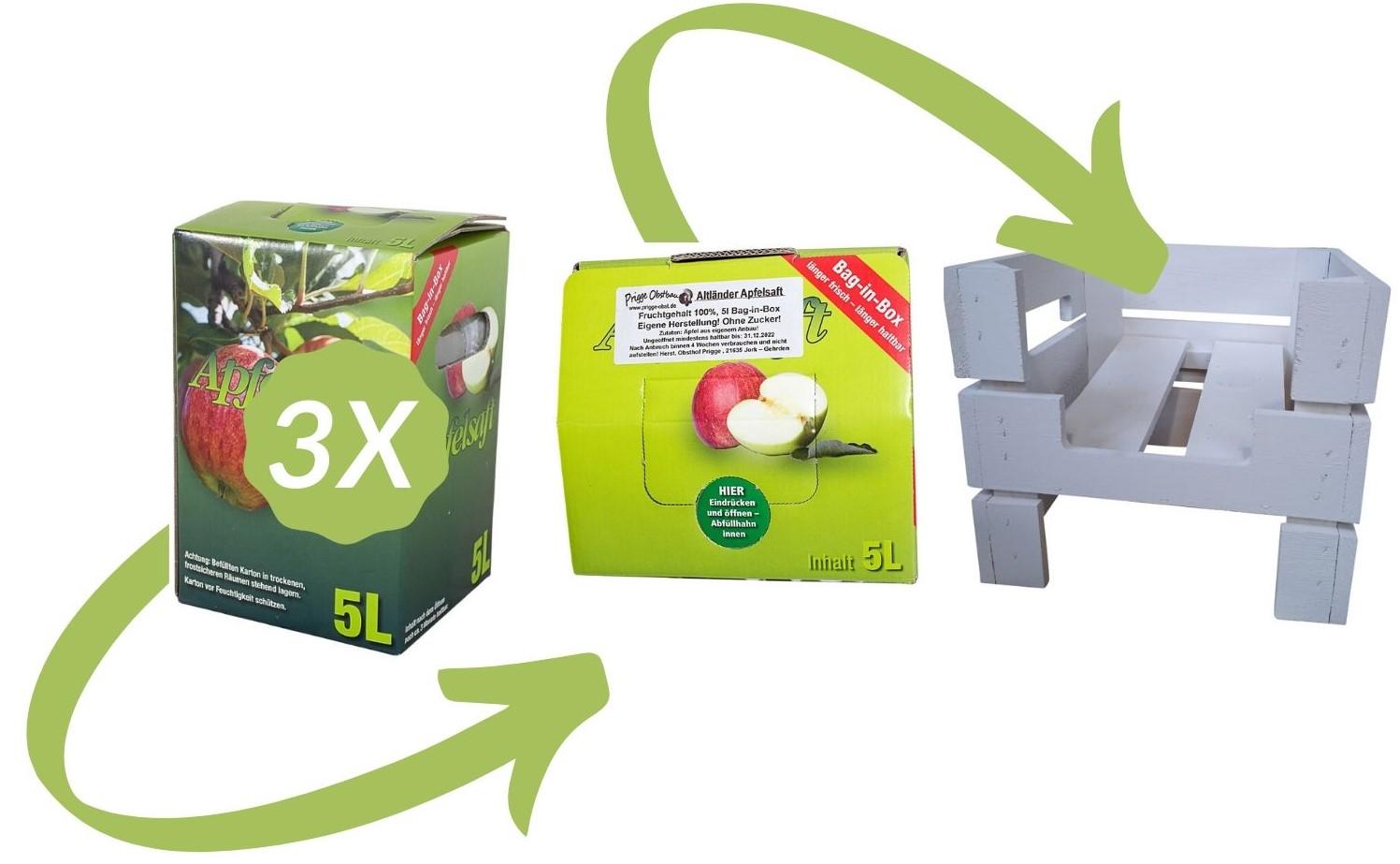 Sparfuchs-Set! 1 Untergestell *weiß* + 3x 5 Liter Apfelsaftbox 29x25x29cm