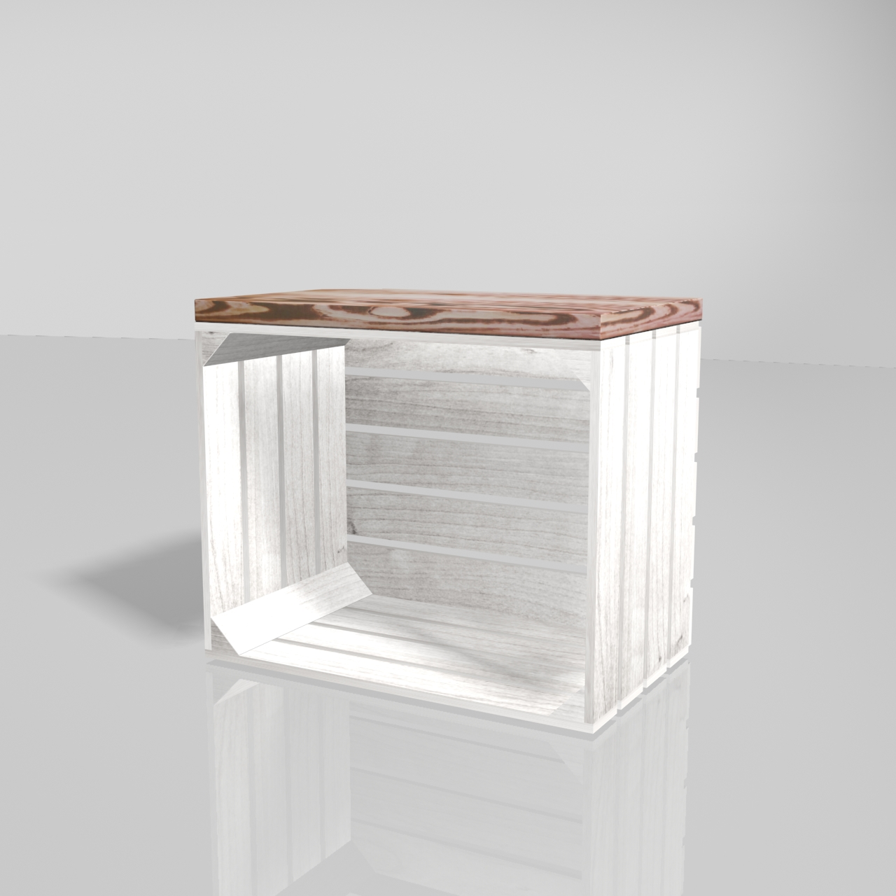 Obstkiste aus weißem Holz mit aufgesetztem Bohlenbrett in geflammter Optik 50x40x30cm