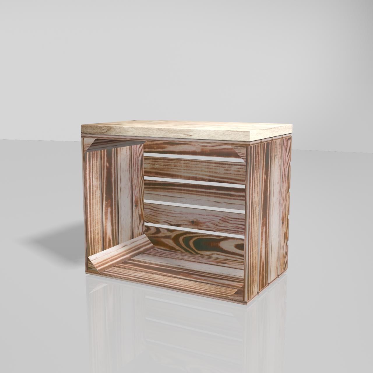 Obstkiste aus geflammtem Holz mit aufgesetztem Bohlenbrett in natur Optik 50x40x30cm