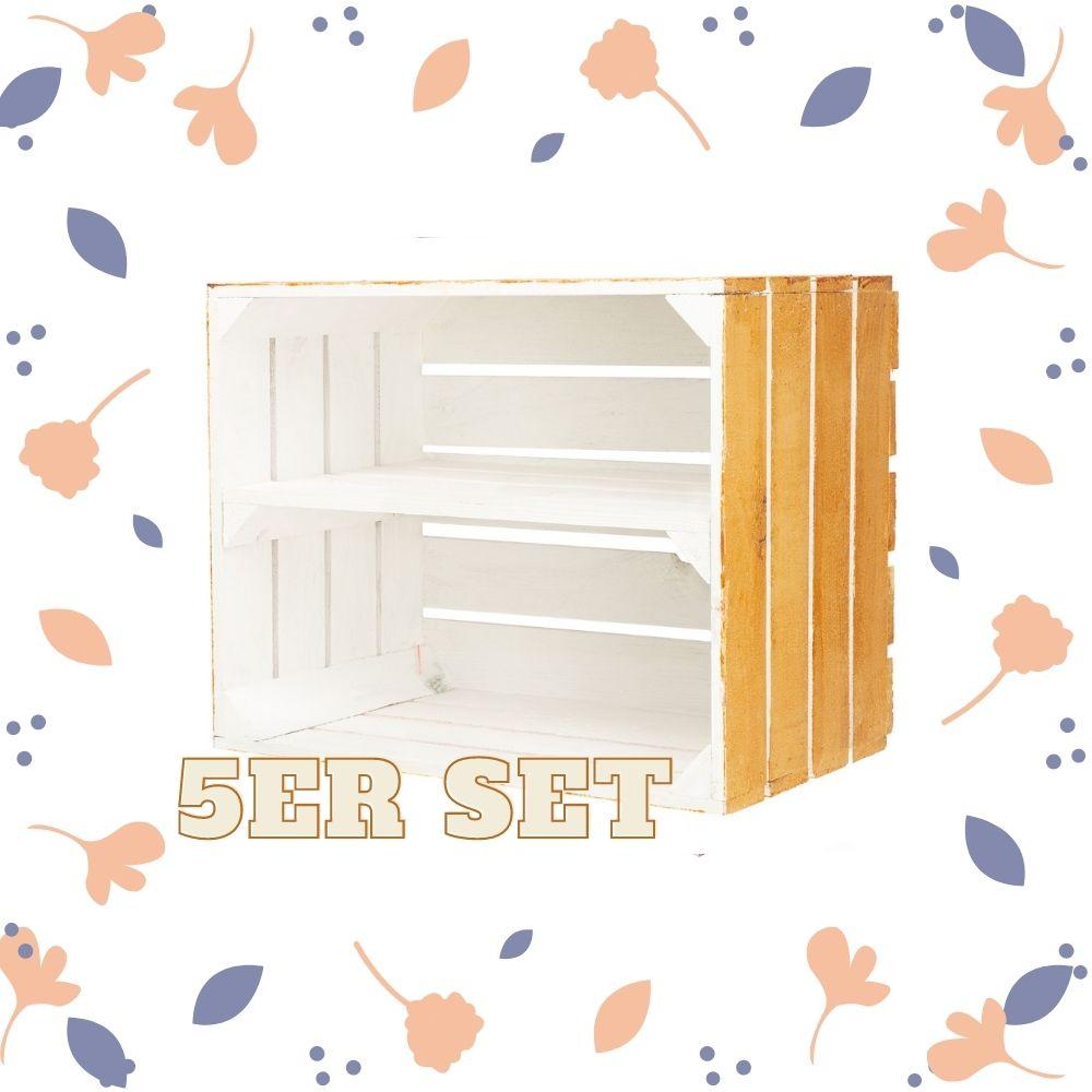 5er Set Holzkiste mit Mittelbrett außen helles Holz innen weiß 50x40x30cm