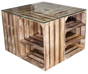 n tzliches couchtisch aus geflammten regalkisten inkl glasplatte 70x70x50cm obstkisten. Black Bedroom Furniture Sets. Home Design Ideas