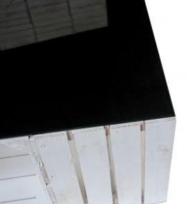 restposten m bel couchtisch aus wei en apfelkisten auf rollen inkl schwarzer glasplatte. Black Bedroom Furniture Sets. Home Design Ideas