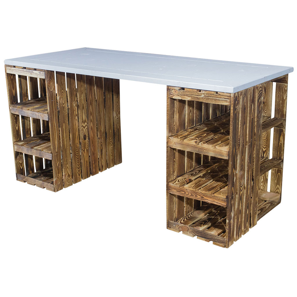 Schreibtisch mit geflammten Holzkisten & weißer Holzplatte 150x70x75cm