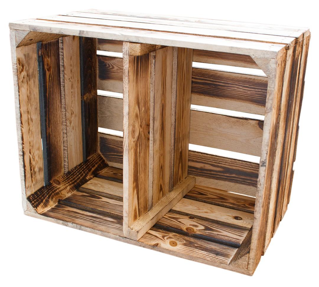 Neue Holzkisten  Geflammte Kiste für Schuhund  ~ Bücherregal Quer