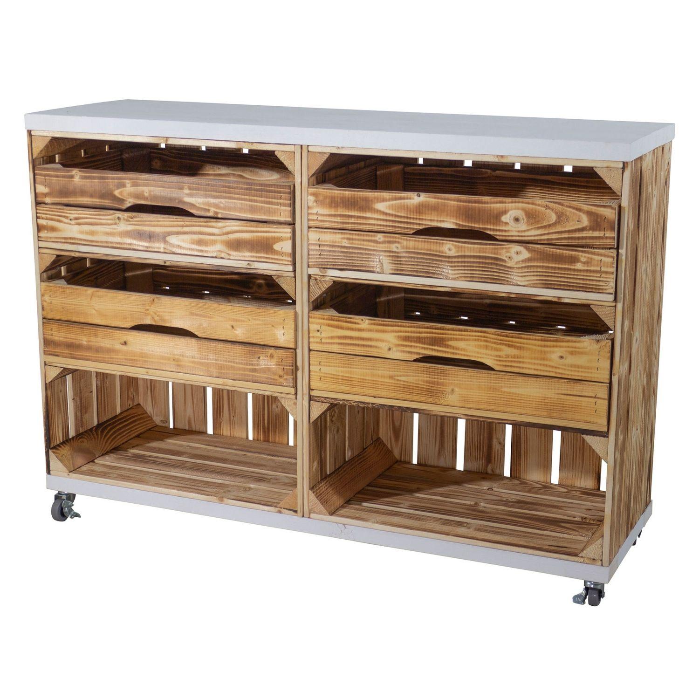 Regal aus zwei geflammten Kisten hoch mit 2 Schubladen und Bohlenbrett in Weiß, auf Rollen