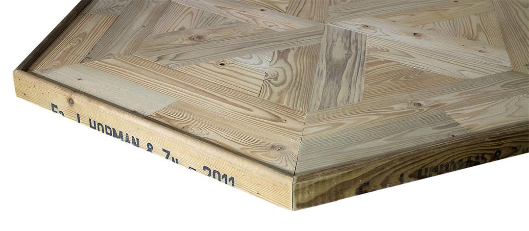 Sechseck-Tischplatte aus Apfelkisten 99x99x39cm