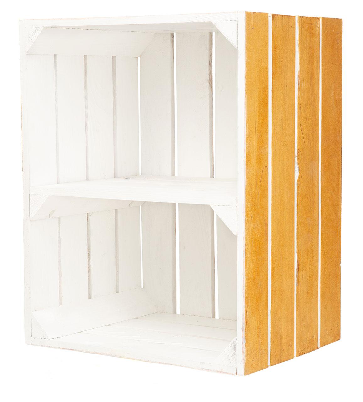 Holzkiste mit Mittelbrett außen holzfarben innen weiß 50x40x30cm