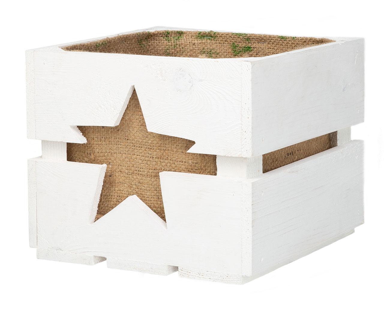 Weiße Dekokiste mit Sternauschnitt und Jutesack 30x30x25cm