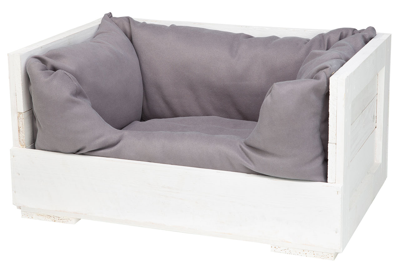 Katzenbett in weißem Holz mit Kissen 60x40x30cm