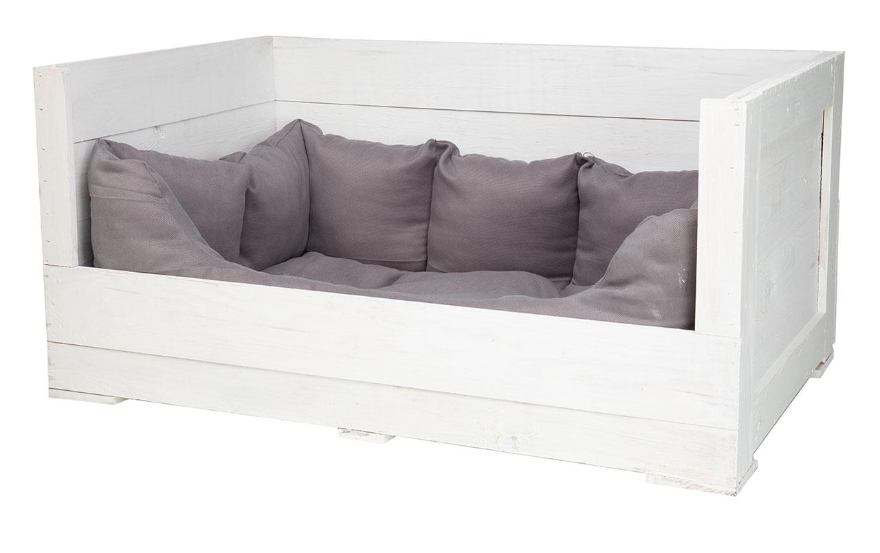 Hundebett in weißem Holz mit Kissen 95x60x45cm