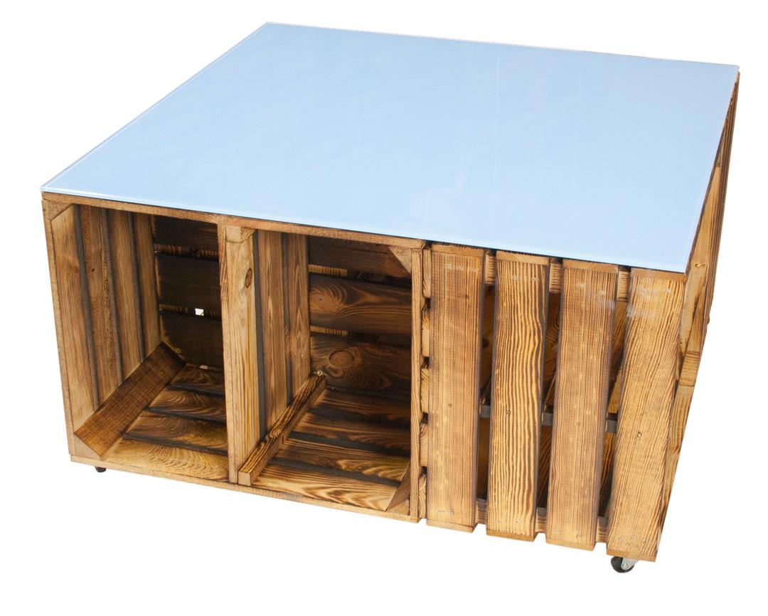 restposten couchtisch aus geflammten apfelkisten auf rollen inkl hellblauer glasplatte. Black Bedroom Furniture Sets. Home Design Ideas